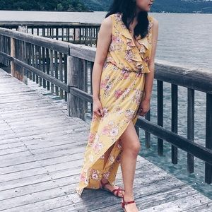 Dresses & Skirts - Mustard Floral Maxi Dress